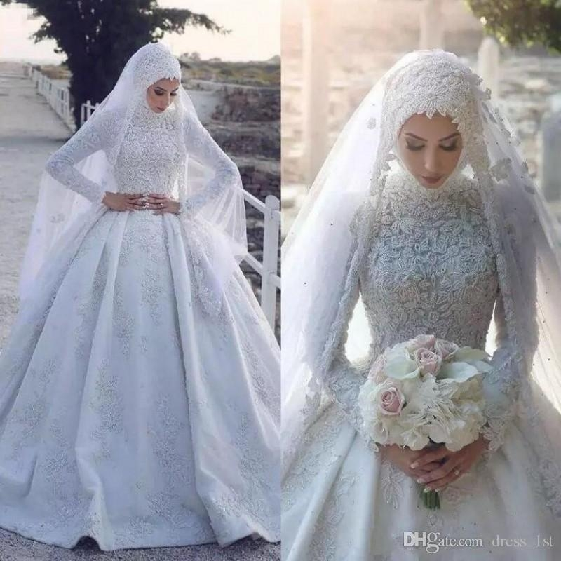 discount 2019 pattern modest muslim wedding dresses high neck long sleeves chapel train white pearls beaded lace muslimah turkey bridal gowns dubai Muslimah Wedding Dress