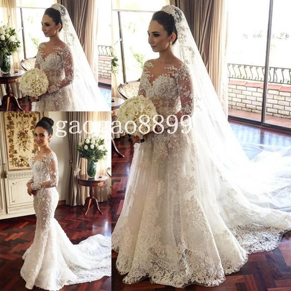 discount 2019 steven khalil mermaid wedding dresses bridal gowns with detachable skirt stunning detail 3d floral sheer neck illusion long sleeve best Steven Khalil Wedding Dress s