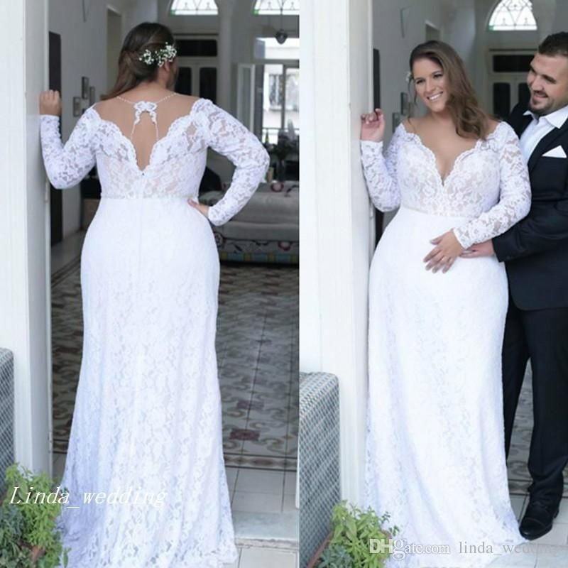 discount 2019 vintage plunging v neck wedding dress backless Plus Size Non Traditional Wedding Dresses