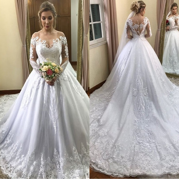 discount 2019 vintage scoop a line long sleeve wedding dresses chapel train applique beaded sequin plus size bridal wedding gowns muslim wedding Plus Size Non Traditional Wedding Dresses