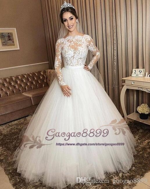 discount 2019 vintage sheer lace long sleeve wedding dresses with puffy tulle skirt plus size floor length vestido de noiva custom made bridal gowns Dhgate.Com Wedding Dresses