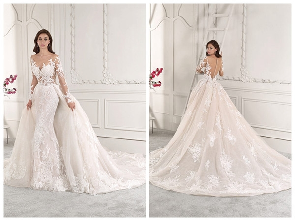 discount 2019 wedding dresses robe de marie demetrios 885 ivory tulle lace a line sheer bateau long sleeve buttons overskirt wholesale custom made Wedding Dresses By Demetrios