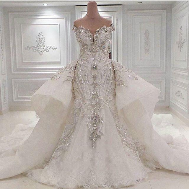discount 2020 portrait mermaid wedding dresses with overskirts lace ruched sparkle rhinstone bridal gowns dubai vestidos de novia custom made photos Dhgates Wedding Dresses