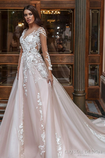 discount blush long sleeved princes wedding dresses 2017 crystal design bridal v neck embellished lace embroidered romantic a line wedding gowns aline Princes Wedding Dresses