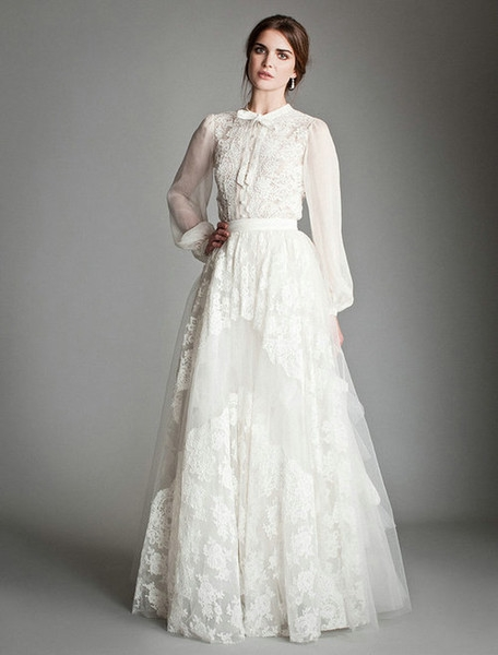discount cheap long poet sleeve lace wedding dress uk temperley london high neck a line applique bow tie floor length skirt bridal gowns cheap bridal Temperley London Wedding Dress