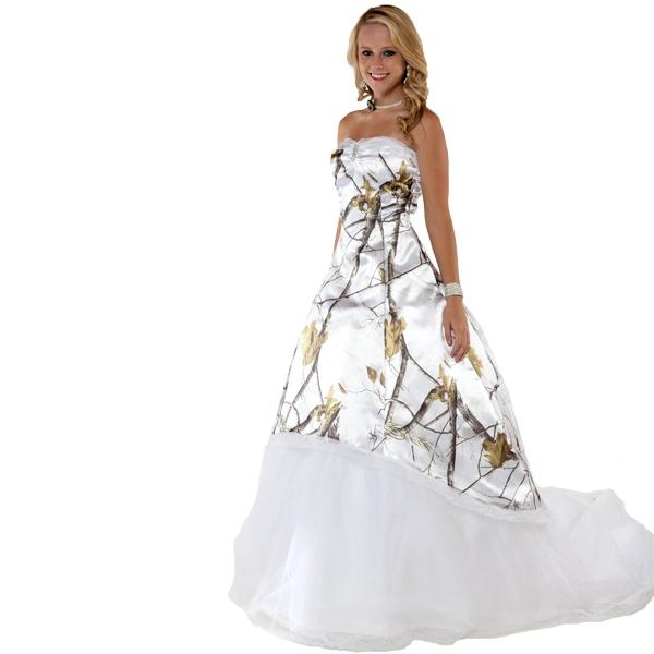 discount fashion white snow camo wedding dresses with tulle skirt realtree camouflage bridal dresses sweep train wedding gowns 2017 vestidos ve novia Snow Camo Wedding Dress