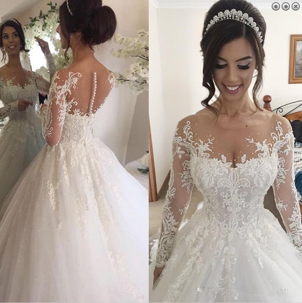 discount illusion jewel long sleeves wedding dress with beading appliques chapel train puffy skirt arabic church bridal gowns dresses 2019 plus size Dhgates Wedding Dresses