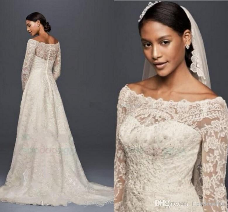 discount modest oleg cassini wedding dresses with long sleeves lace applique off shoulder garden outdoor vintage lace plus size bridal gowns a line Oleg Cassini Wedding Dress