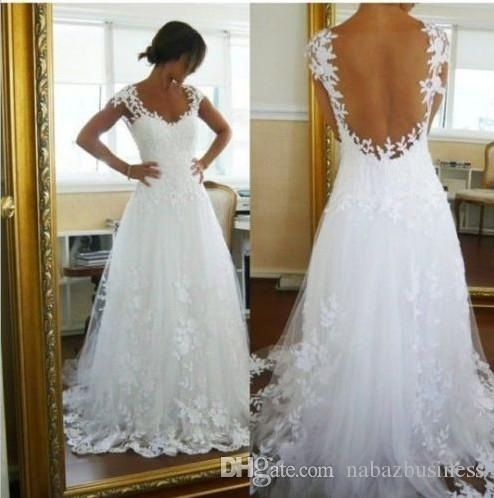 discount nicest wedding dresses ever a line v neck sheer panel back court train bridal gowns get one veilpetticoatpetticoat for free dhyz 01 a line Prettiest Wedding Dresses Ever