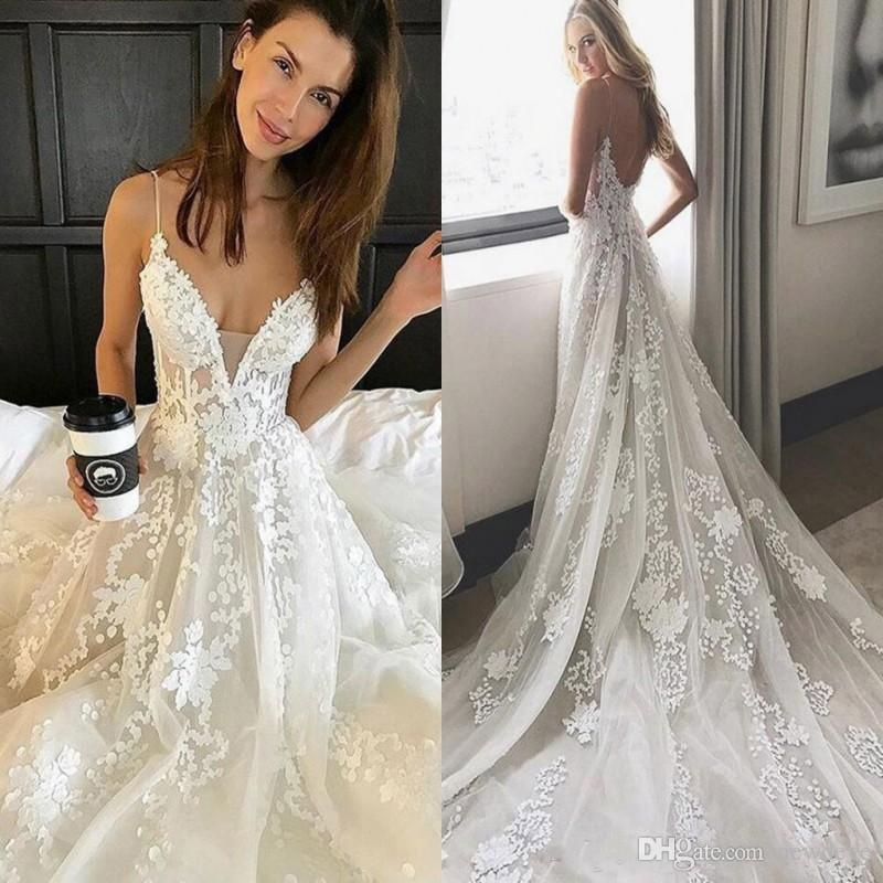 discount pallas couture wedding dress lace applique modest spaghetti straps backless wedding dresses bridal gowns cheap vestidos de novia affordable Pallas Wedding Dresses