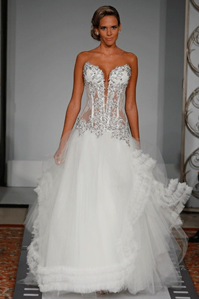 discount pnina tornai a line wedding dresses 2016 sheer sweetheart corset bodice charming beaded appliques lace tulle bridal gowns 794 sweep train Pnina Tornai Corset Wedding Dresses