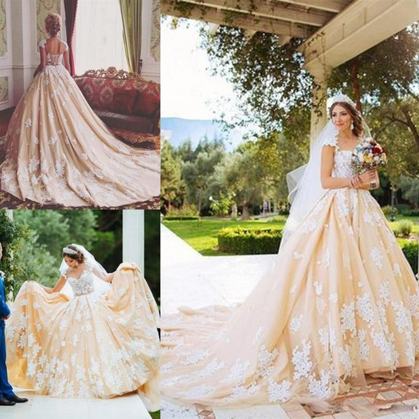 discount vintage champagne 18th century retro wedding dresses lace appliques cap sleeves a line wedding gowns floor length custom made wedding dresses 18th Century Wedding Dresses