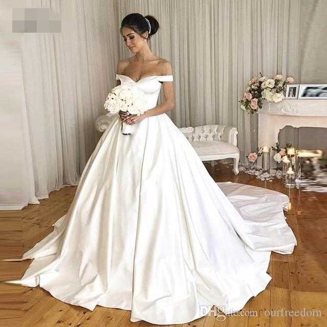 discount vintage wedding dresses 2019 with pockets off the shoulder royal simple bridal gowns v neck back button pretty wdding gowns chiffon wedding Prettyco Wedding Dress