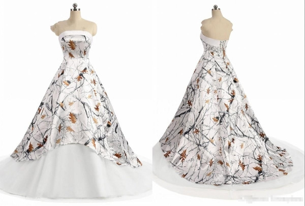 discount white camo wedding dress cheap 2019 new strapless simple designer a line zipper back court train bridal gown new vintage lace wedding dresses Winter Camo Wedding Dress