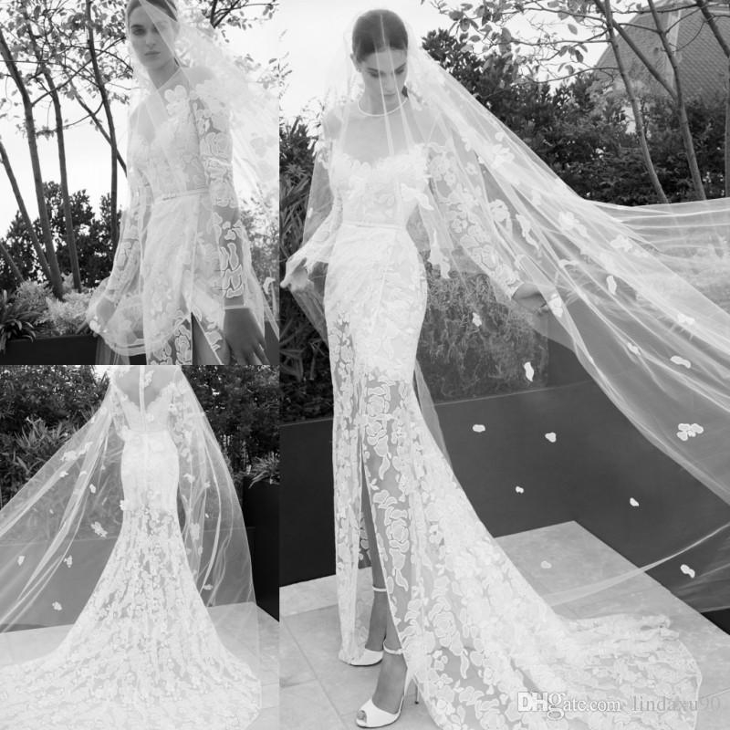 elie saab 2019 mermaid split wedding dresses sheer neck long sleeve lace appliqued beach wedding dress bridal gowns plus size Elie Saab Wedding Dress