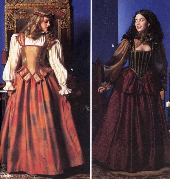 elizabethan wedding dress simplicity 9256 historical costume sewing pattern shakespeare size 14 to 20 uncut Elizabethan Wedding Dresses