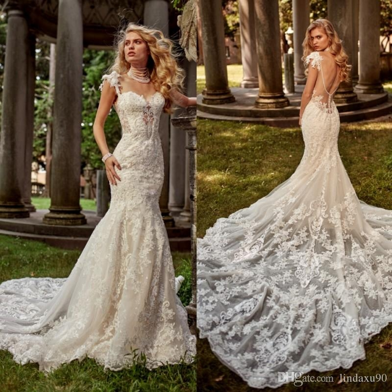 eve of milady mermaid 2019 wedding dresses full lace appliqued backless wedding dress spaghetti sweetheart neckline sweep train bridal gowns wedding Eve Of Milady Wedding Dresses