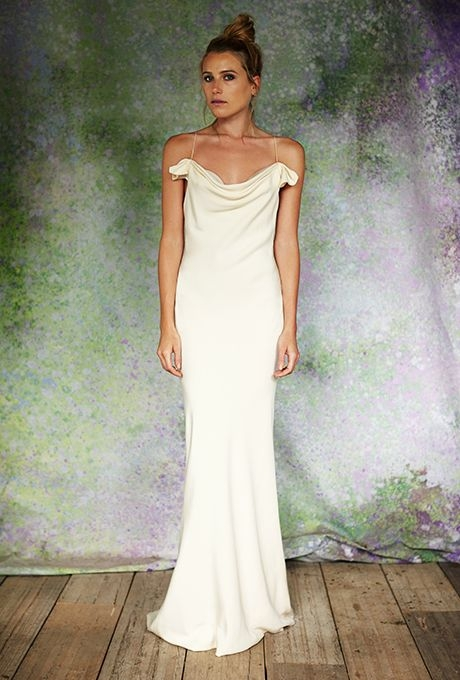 fashion beauty stone fox bride minimalist wedding Bias Cut Wedding Dress
