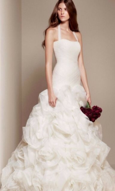 fit and flare halter ivory vera wang white wedding dress brand new unaltered Vera Wang Wedding Dresses s