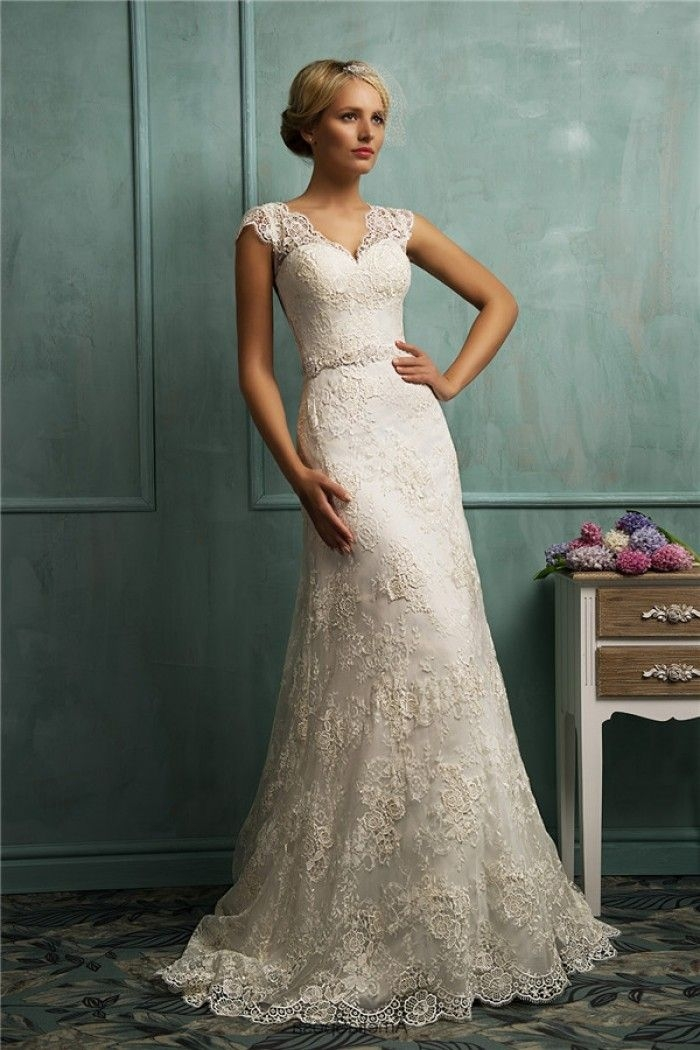 fitted a line cap sleeve illusion back vintage lace wedding Capped Sleeve Lace Wedding Dress