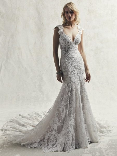 fully lace cap sleeve v neck fit and flare wedding dress Maggie Sottero Wedding Dresses