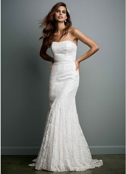 galina strapless lace gown w ribbon detail style wg3381 davidsbridal sz12 Galina Wedding Dresses