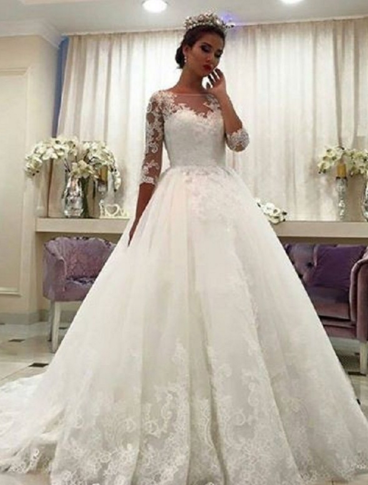 gorgeous ball gown wedding dresses puffy lace beaded applique white long sleeve wedding gowns Wedding Dresses Poofy