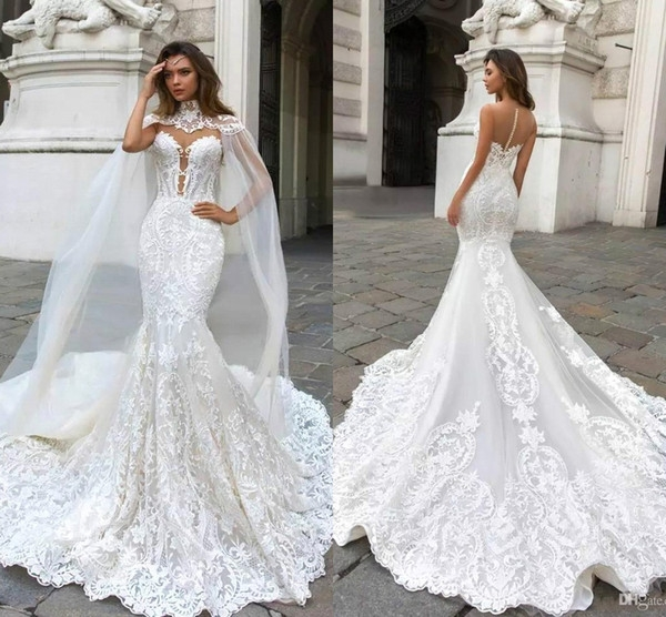 gorgeous high neck mermaid wedding dresses with tulle wraps lace appliques long bridal gowns court train button back mermaid wedding dresses under 500 Mermaid Wedding Dresses Under 500