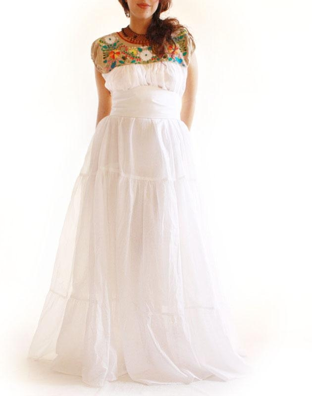 handmade mexican embroidered dresses and vintage treasures Embroidered Mexican Wedding Dress