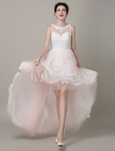 high low wedding dress lace illusion neckline bridal running dress tulle prom dress milanoo Milanoo Wedding Dress