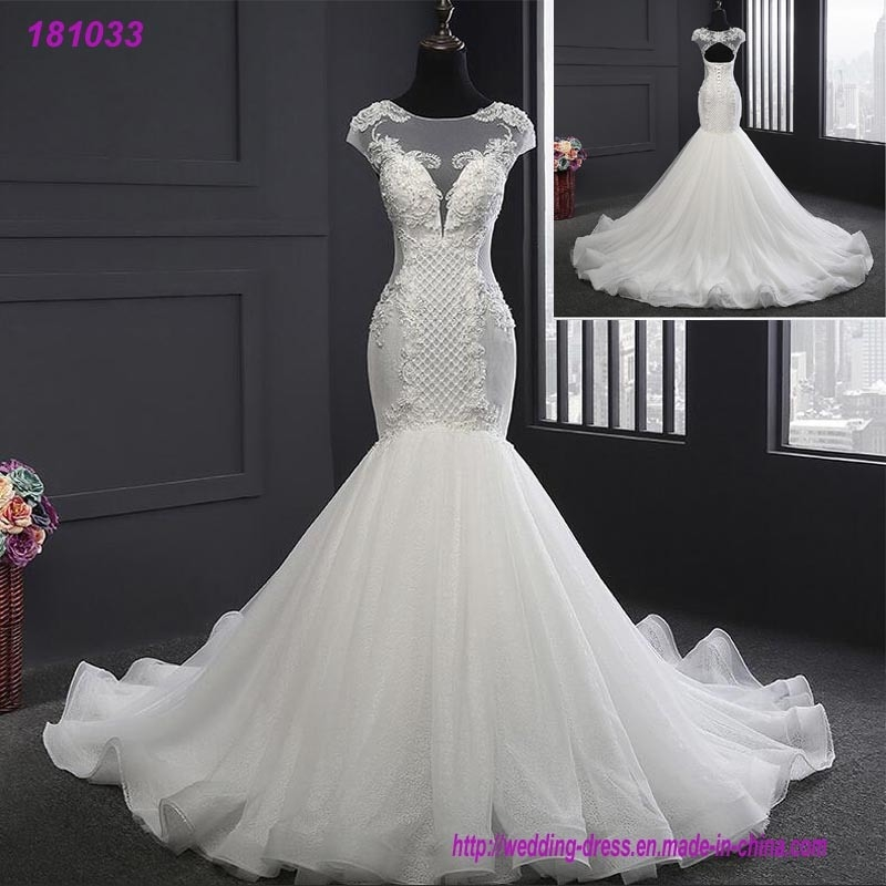 hot item newest design long tail bridal luxury mermaid wedding dress Mermaid Tail Wedding Dresses