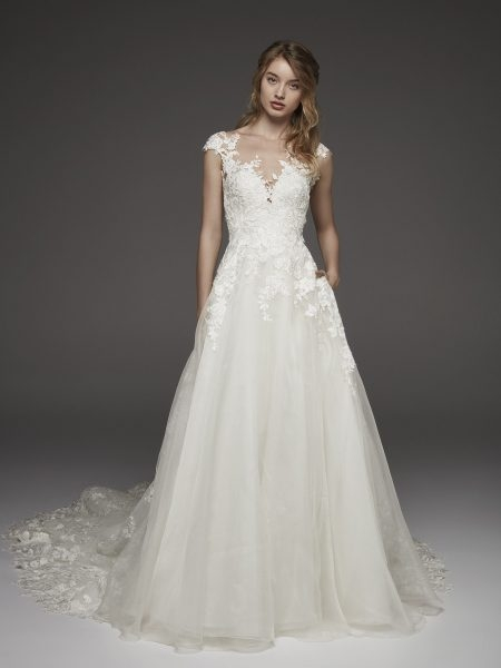 illusion lace cap sleeve a line wedding dress Capped Sleeve Wedding Dress