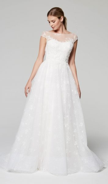 illusion neckline cap sleeve lace wedding dress Alencon Lace Wedding Dress