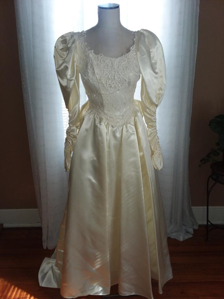 jessica mcclintock cream satin rn49422 vintage wedding dress size 4 s Jessica Mcclintock Wedding Dresses Outlet
