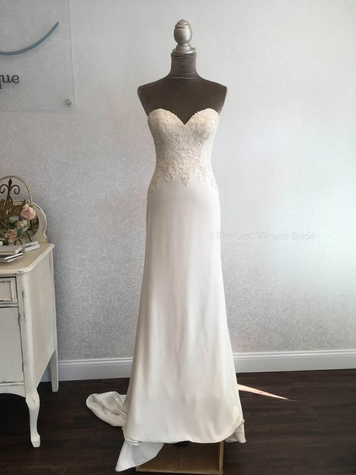 justin alexander ivoryivory lace and crepe 88004 feminine wedding dress size 6 s 46 off retail Justin Alexander Wedding Dress s