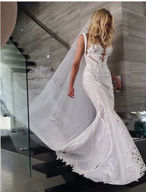 kate twigleys jaton wedding gown lace sleeveless J Aton Wedding Dress