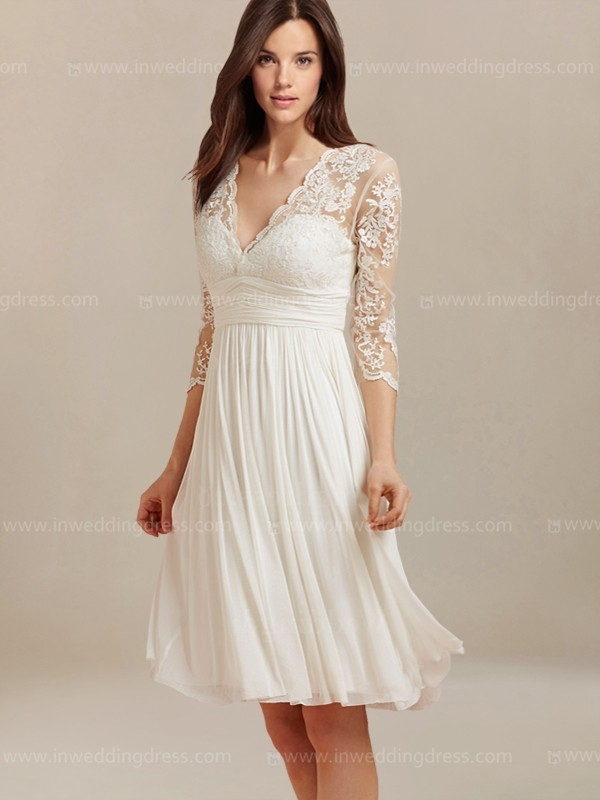 knee length wedding dress with lace bc128 Wedding Dresses For Seniors