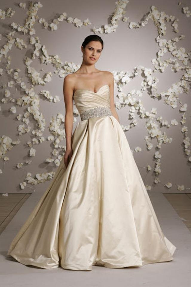 lazaro antique ivory satin 3018 traditional wedding dress size 6 s 81 off retail Lazaro Wedding Dresses s
