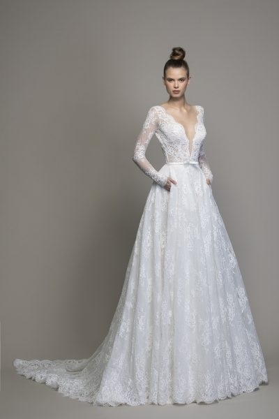 long sleeve lace a line wedding dress Pnina Wedding Dress