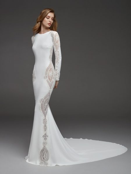 long sleeves crepe beaded detailing sheath wedding dress Wedding Dress Kleinfeld