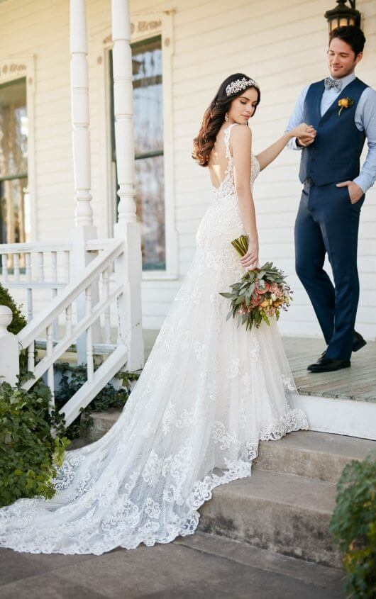 low back wedding dress with beaded lace martina liana Wedding Dresses With Low Backs