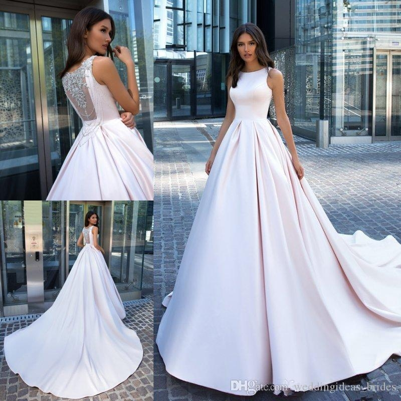 luxury crystal back wedding dresses 2019 modest jewel neck cathedral train simple stain garden pprincess church wedding gown Dhgate.Com Wedding Dresses