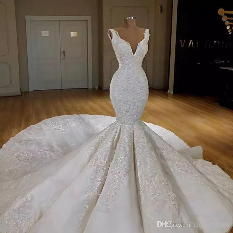 luxury lace floral mermaid wedding dresses 2019 deep v neck cathedral train puffy skirt dubai arabic church garden wedding gown mermaid sweetheart Mermaid Tail Wedding Dresses
