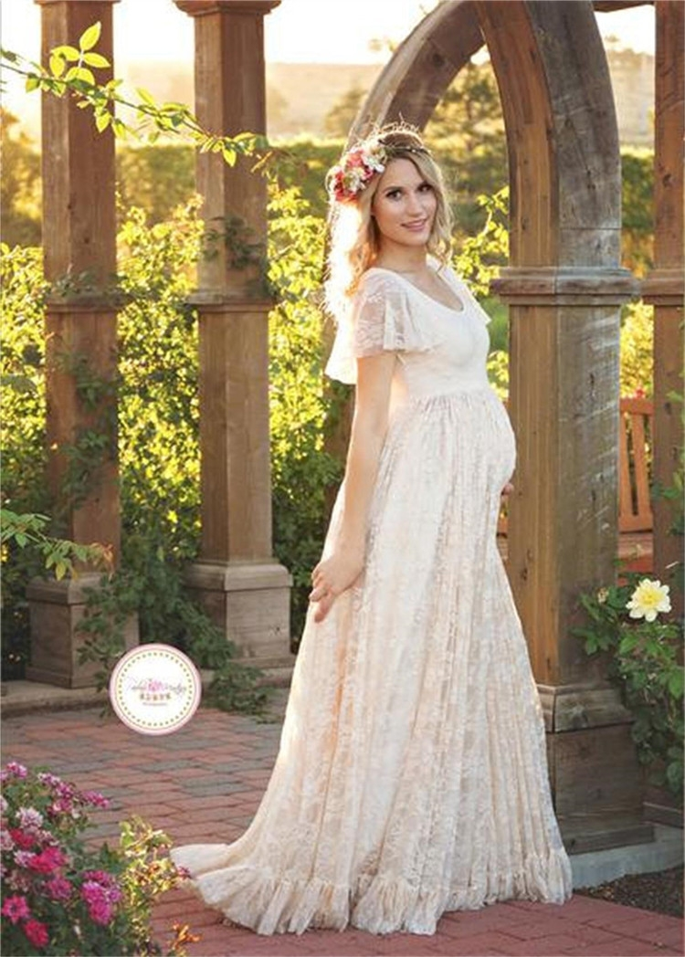 maternity photography props lace dresses off white maternity maxi dress mama gown large size pregnant woman dress Maternity Maxi Dresses For Weddings