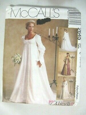 mccalls 2645 renaissance wedding dress bridal gown sewing pattern 10 12 14 Mccall Wedding Dress Patterns