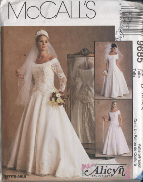 mccalls 9685 wedding gown dress pattern 90s misses 12 14 16 bridal lined ff long Mccall Wedding Dress Patterns