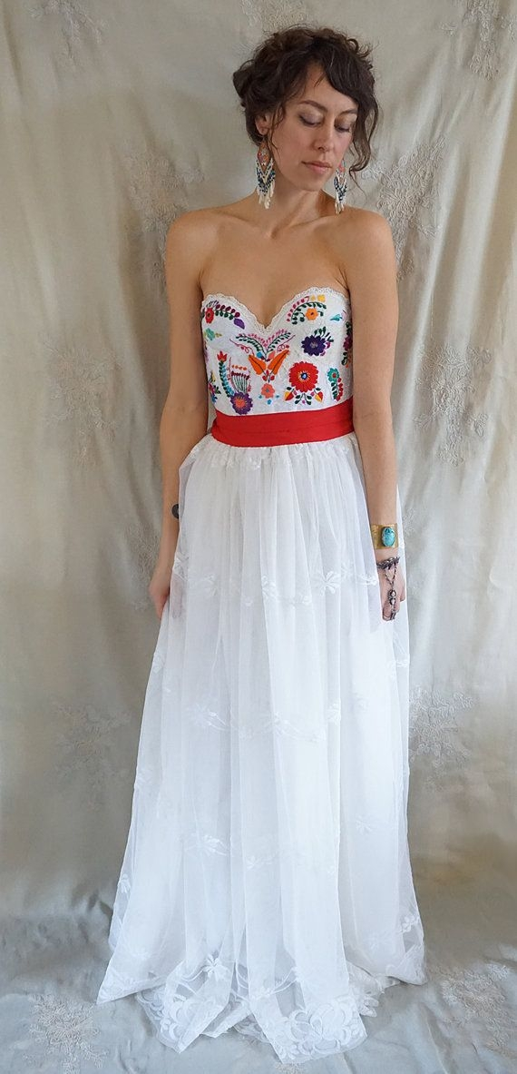 meadow bustier wedding gown or formal dress boho Embroidered Mexican Wedding Dress