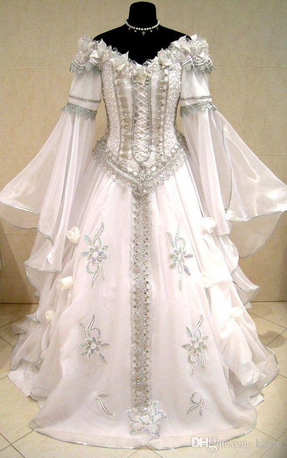 medieval wedding dress witch celtic tudor renaissance costume victorian gothic lotr larp handfasting wicca narnia pagan wedding gown one shoulder Renaissance Wedding Dresses For Sale