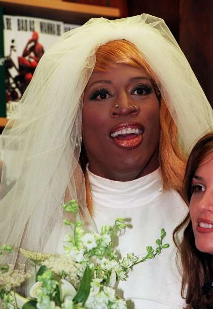 names faces dennis rodman aaron rodgers sfchronicle Dennis Rodman In A Wedding Dress