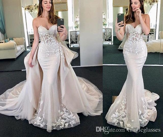 new arrival mermaid wedding dresses 2019 sweetheart neck sleeveless chapel train lace tulle bridal gowns with removable skirt mermaid tail wedding Mermaid Tail Wedding Dresses